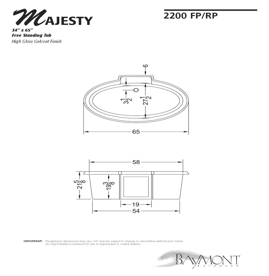 2200 Majesty 34 x 65 Free Standing Tub - Baymont Bathware